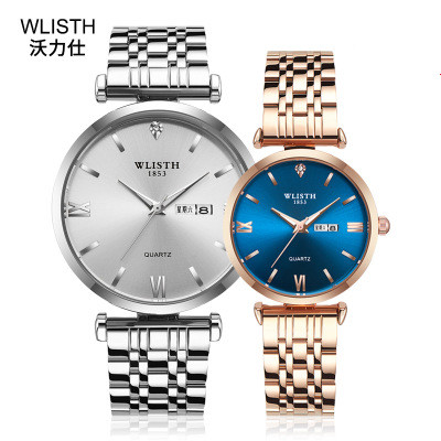 Casual Fashion Couple Wristwatch Men Women Stainless Steel Band Watches Luminous Hands Display