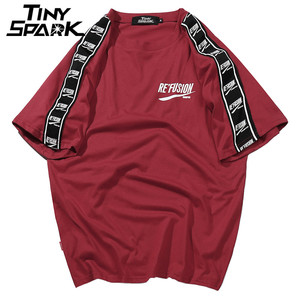 Image 3 - 2020 קיץ היפ הופ גברים Harajuku סרט הדפסת חולצה קצר שרוול פס Tshirts Streetwear חדש מקרית למעלה Tees כותנה