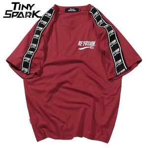 Image 3 - 2020 Summer Hip Hop T Shirts Men Harajuku Ribbon T Shirt Print Short Sleeve Stripe Tshirts Streetwear New Casual Top Tees Cotton