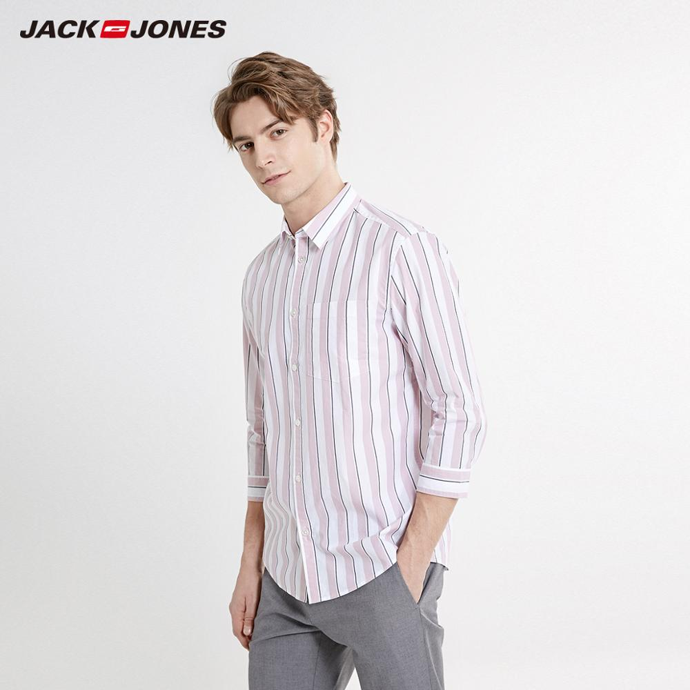 JackJones Men's Straight Fit 100% Cotton Striped 3/4 Sleeves Shirt Menswear Beach| 219231504