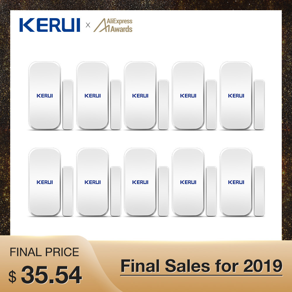 Wholesales 10PCS Kerui Extra Home Wireless Door Window Detector Gap Sensor For Home Alarm System Touch Keypad