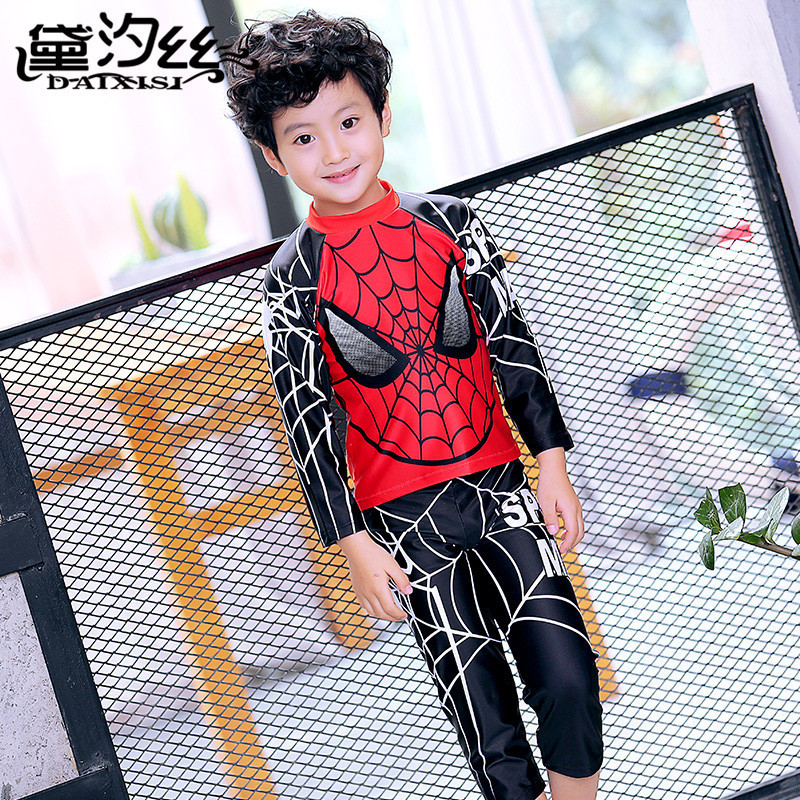 CHILDREN'S Swimwear BOY'S Split Type Cartoon Spider-Man Hooded Long Legs Long Sleeve Sun-resistant Split Type Boy Jellyfish Bath