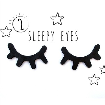 A Pair of Eyelash Wall Decoration Eyelash Wall Stickers Sleepy Eyes Wall Decor Wooden Decal