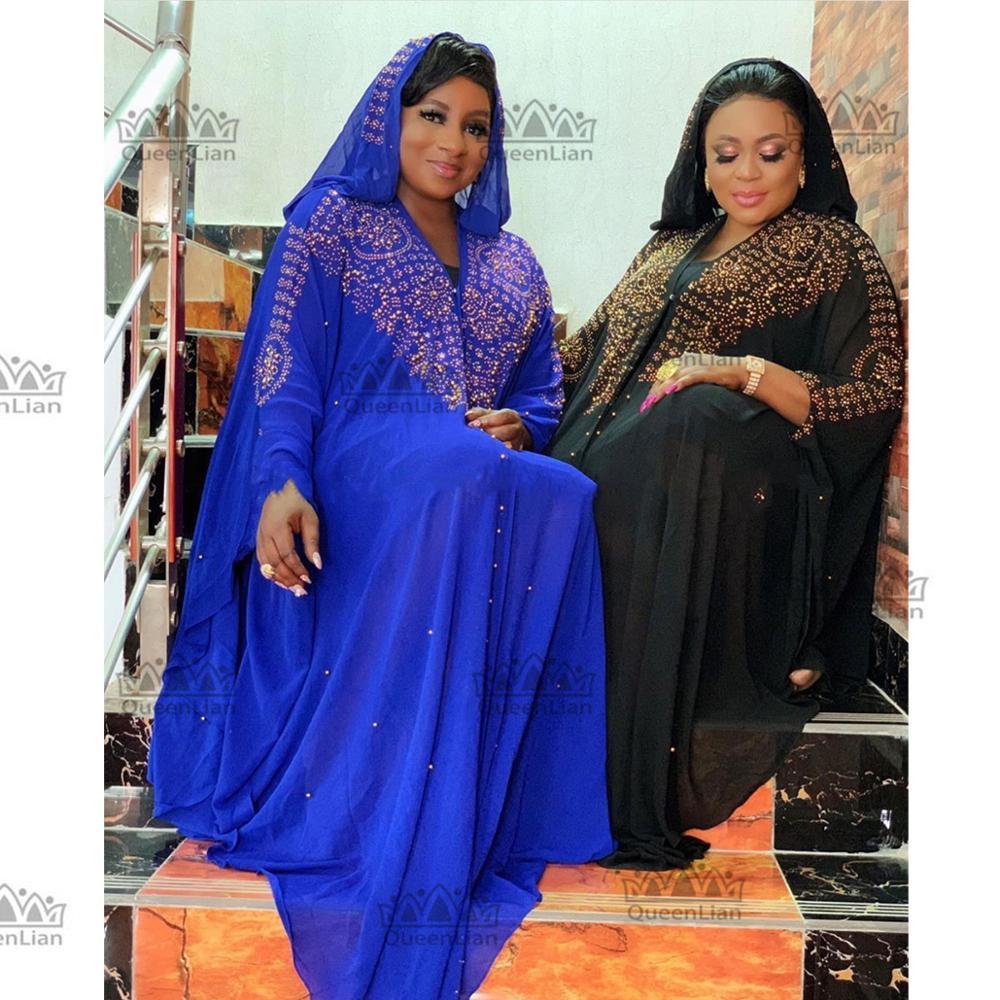 2019 New African Design Bazin Chiffon Long Stick Diamond Sleeve Dashiki Dress For Lady