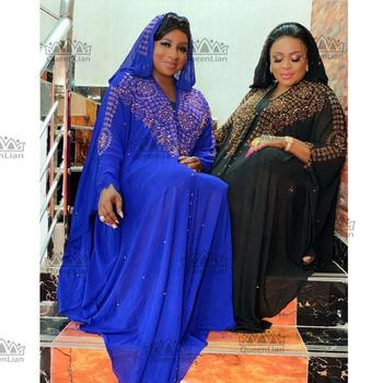 2020 New African Design Bazin Chiffon Long Stick Diamond Sleeve Dashiki Dress For Lady
