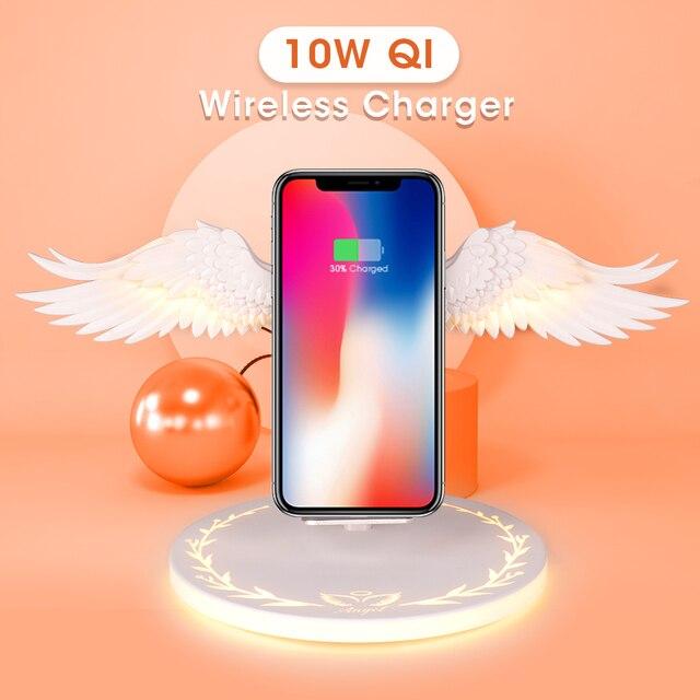 Qi Беспроводная зарядная док станция 10 Вт ангельские крылья 3,0 быстрое зарядное устройство Тип C для iPhone X XR 8 Plus Smasung S9 S10 Plus для huawei P30 Xiaomi