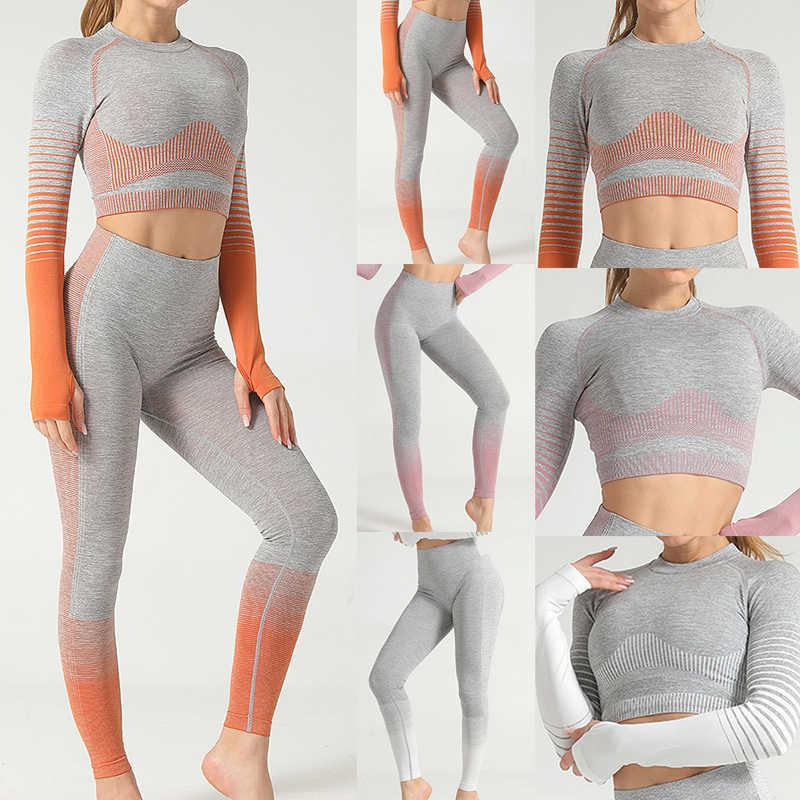 Gym Clothing Long Sleeve Crop Top Shirts Women Seamless Yoga Set High Waist Running Leggings Workout Pants Fitness Sports Suits Aliexpress