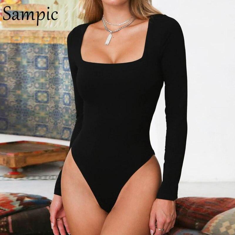 Sampic Sexy Long Sleeve Bodysuit Casual Elastic Body Women Autumn Bodysuit White Black Yellow Red Summer   Romper   Womens Bodysuits