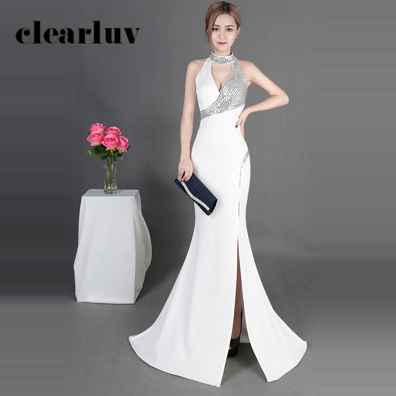 Formal Evening Gowns White Sexy Sleeveless Floor Length Robe De Soiree DX388 Plus Size Halter High Split Mermaid Evening Dress