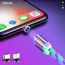 1m Magnetic Cable Micro USB Type C Cord LED Flow Luminous Lighting for iphone 6 Samaung Xiaomi Redmi 7 Mobile Phone Cables