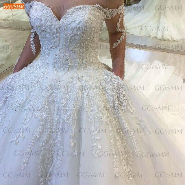 Luxury White Wedding Dresses Lace Up Appliqued Beaded Vestido De Noiva 2020 Custom Made Ball Gown Bridal Dress Long Chapel Train 6