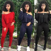 цена на Fashion Women's Lady Jumpsuit Crop Top Off Shoulder Long Sleeve And Slim Pant Crop Top Pants Set Casual Jumpsuit