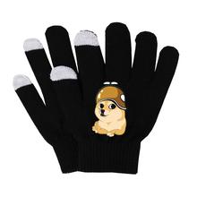 Anime doge rękawiczki jednokolorowe ciepłe palce bawełniane rękawiczki czarne rękawiczki dziewiarskie rękawiczki na nadgarstki Stretch rękawiczki robione na drutach tanie tanio Unisex COTTON Dla dorosłych Cartoon Nadgarstek Moda SHOUTAO