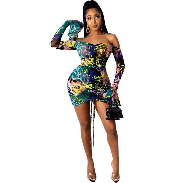 Snake Tie Dye Printed Ruch Drawstring Wrap Dress Woman Off Shoulder Long Flare Sleeve Sheath Dresses Retro Backless Robe Femme 5