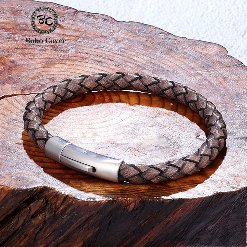 Men's Vintage Style Genuine Leather Bracelet Simple Gold Stainless Steel Buckle Lover Cuff Bangles Hand-woven Male Jewelry Gifts