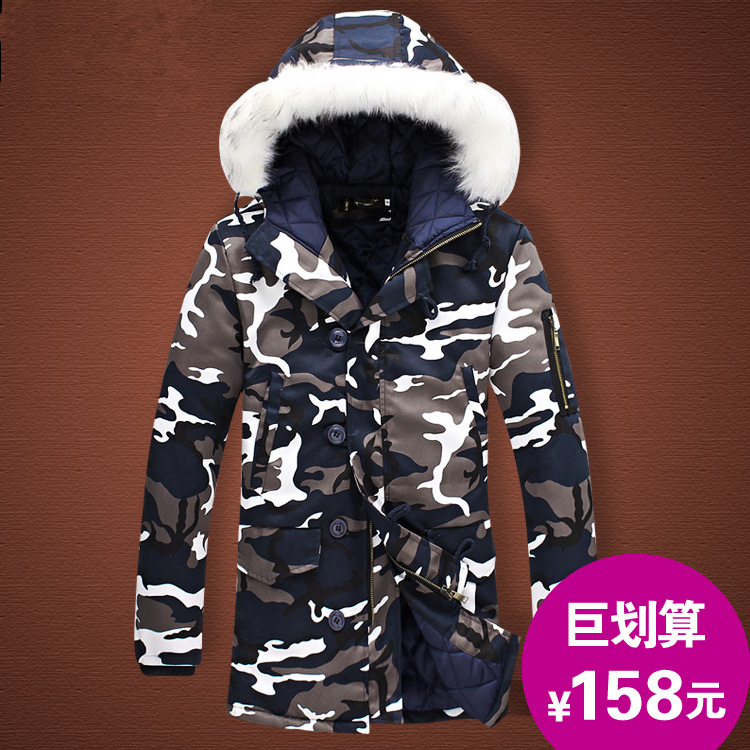 Winter Men Mid-length Hooded Camouflage Cotton-padded Clothes Plus-sized Fashion Man Coat Thick Warm Fur Collar Cotton Coat
