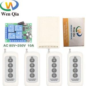 Универсальный дистанционный пульт дистанционного управления с большим радиусом действия 433 МГц, AC220V, 10Amp, 4CH, радиочастотный релейный приемн...