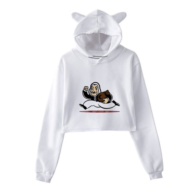 New Money Heist Hoodies The House Of Paper La Casa De Papel Vogue Casual Dali Mask Casa De Papel Women Cropped Top Sweatshirt 5