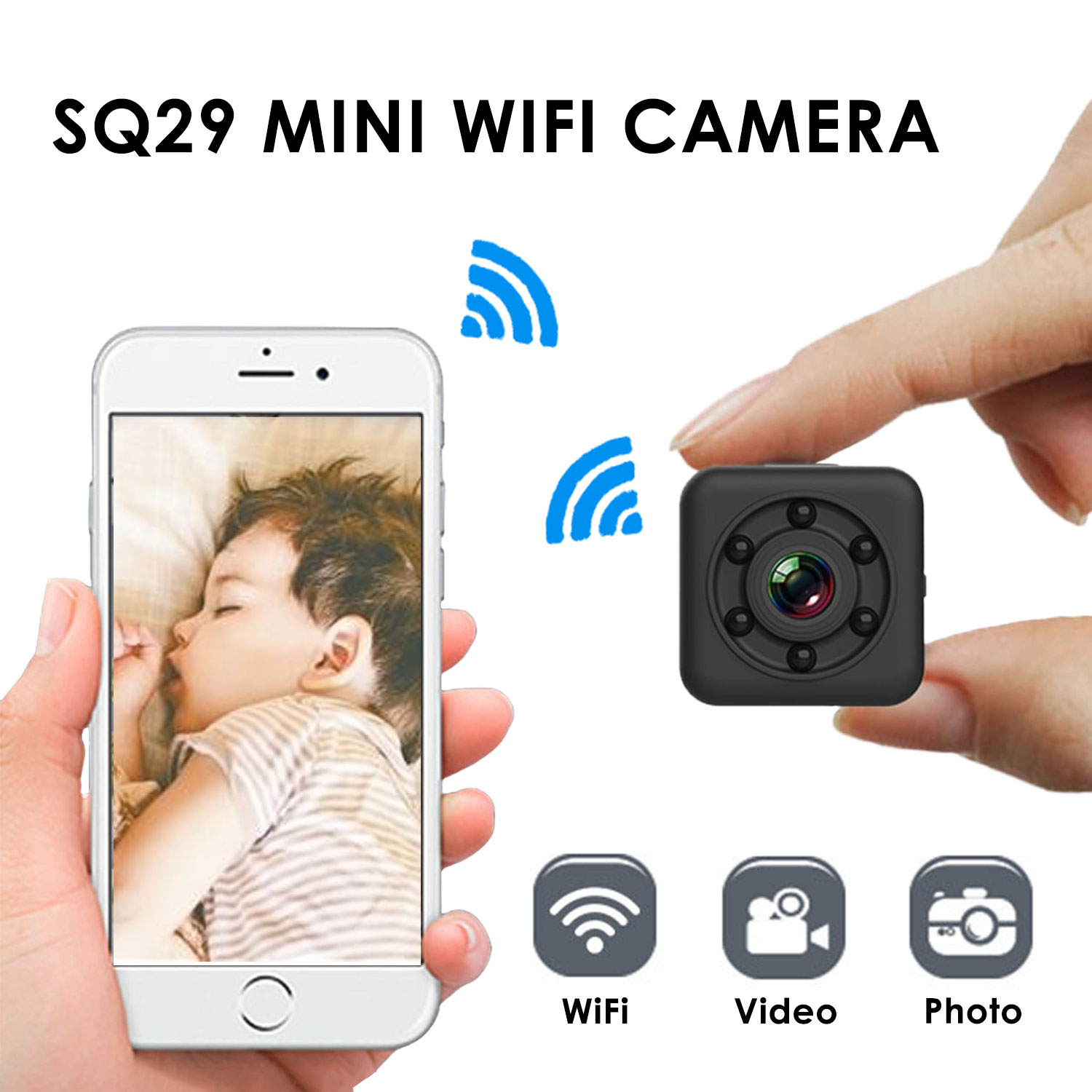 SQ29 Baby Security Monitor HD WIFI Small Mini Camera Sensor Night Vision Camcorder Baby Safety Care Motion DVR Micro Camera