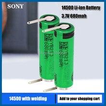 Us14500vr2 14500 sony 3.7v aa 680mah baterias li-ion com soldagem elétrica escova de dentes barbeador máquina de cortar cabelo recarregável células
