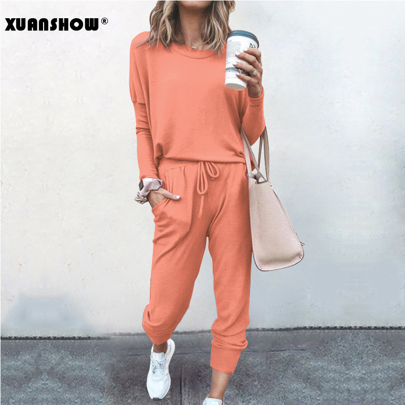 XUANSHOW 2020 Spring Autumn Women Tracksuit Two Piece Set Loose Comfortable Simple Style Solid Color Long Sleeve Casual Suit