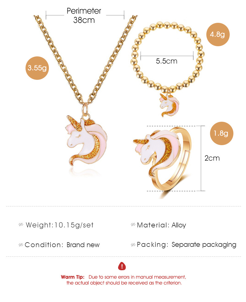 3pcs/set Necklace ring Cartoon Unicorn Necklace Earring Jewelry Pink Girls Gift Jewelry Jewelry Bracelet and Necklace Set