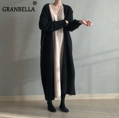Hot Fashion Loose Long Knitted  Sweater Solid Color Spring Cardigans Warm Knitwear Kimono Plus Size Knitted Outerwear