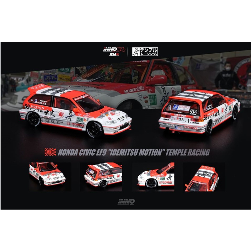 INNO 64 Scale 1/64 JDM Honda Civic EF9 Idemitsu Motion - Temple Racing Japan Domestic Market Die-cast Model Car