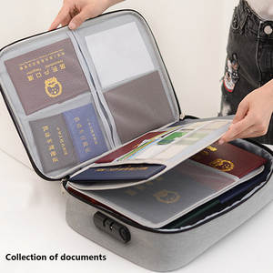 Three-layer Document Bag with Lock Large Capacity Certificates Files Organizer for Home Travel Use To Store Important Items