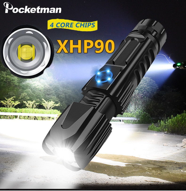 Brightest XHP90.2 LED Flashlight XLamp Tactical Waterproof Torch Smart Chip Control With Bottom Attack Cone USB Rechargeable