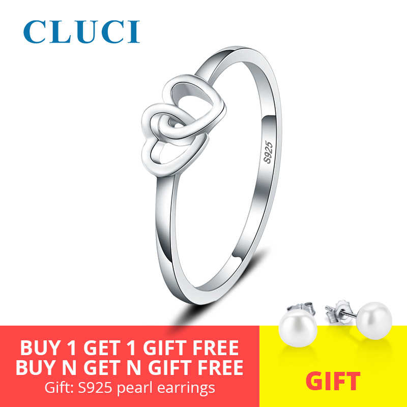 CLUCI Silver 925 Romantic Double Heart Anniversary Ring Simple Design Women Engagement Ring Gift Jewelry