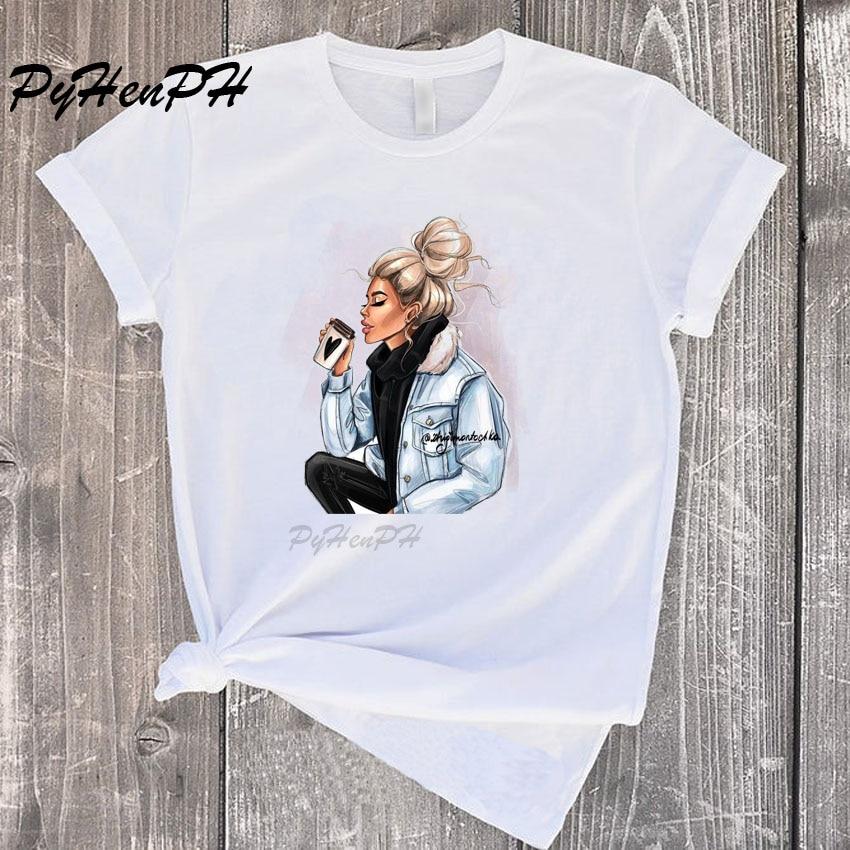 New 2020 Fashion Coffee Pattern Printed T-shirt Women Vintage T Shirt For Women Men Short Sleeve O-Neck T Shirt Femme Summer Top