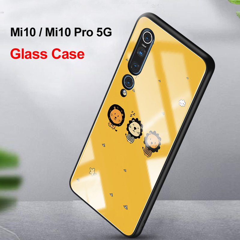 For Xiaomi Mi10 Mi 10 Pro 5G Glass Case 6D Cute Patterned Luxury Tempered Glasss Silicone Frame Hard Cover For Xiaomi Mi10 Mi 10