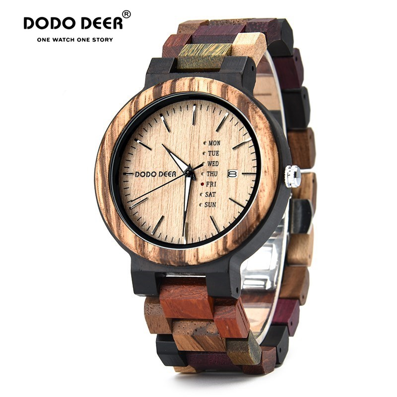 DODO DEER Men Woman Wristwatches Quartz Movement Complete Calendar Watch Week Display Fashion Erkek Kol Saati Kadın Izle A22