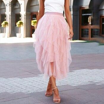 Wysokiej zwężone długie spódnice damskie lato różowy asymetryczna falbana spódnica z siatki czarny tiul Midi odzież 2020 moda damska Flowy