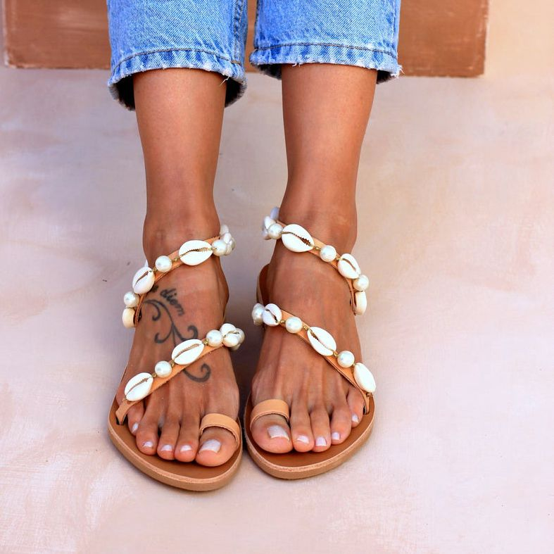 HEFLASHOR 2020 Women Sandals Summer Flat Shell Pearl Sandals Female Beach Shoes Peep Toe Casual Shoes Lasies Sandal Flat Shoes