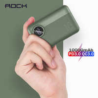 ROCK Mini Power Bank 10000mah 18W Type C PD QC 3.0 QI Wireless Charger External Battery LED Display USB Quick Charger Powerbank