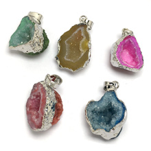 LE SKY Crystal Jewelry Gems Pendant & Necklace Charms Natural Stone Pendants for Making Women Men 15x20mm18x28mm
