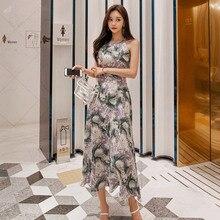 Women Sleeveless Off-Shoulder Midi DressBig Swing Backless Halter Print Floral Dress Women Corset Summer Dress 2019 Plus Size