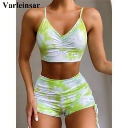 Tie Dye Women 2 Pcs Set Yoga Suits Fitness Sportswear Gym Clothes Breathable Bra Female Running Leggings Workout Set V2314G