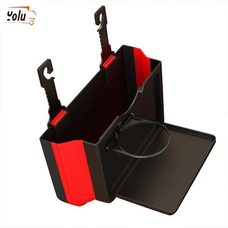 YOLU Multi-function Car Beverage Rack Inside Cup Holder Car Trush Bin Car Dining Table Chair Back Drink Stand