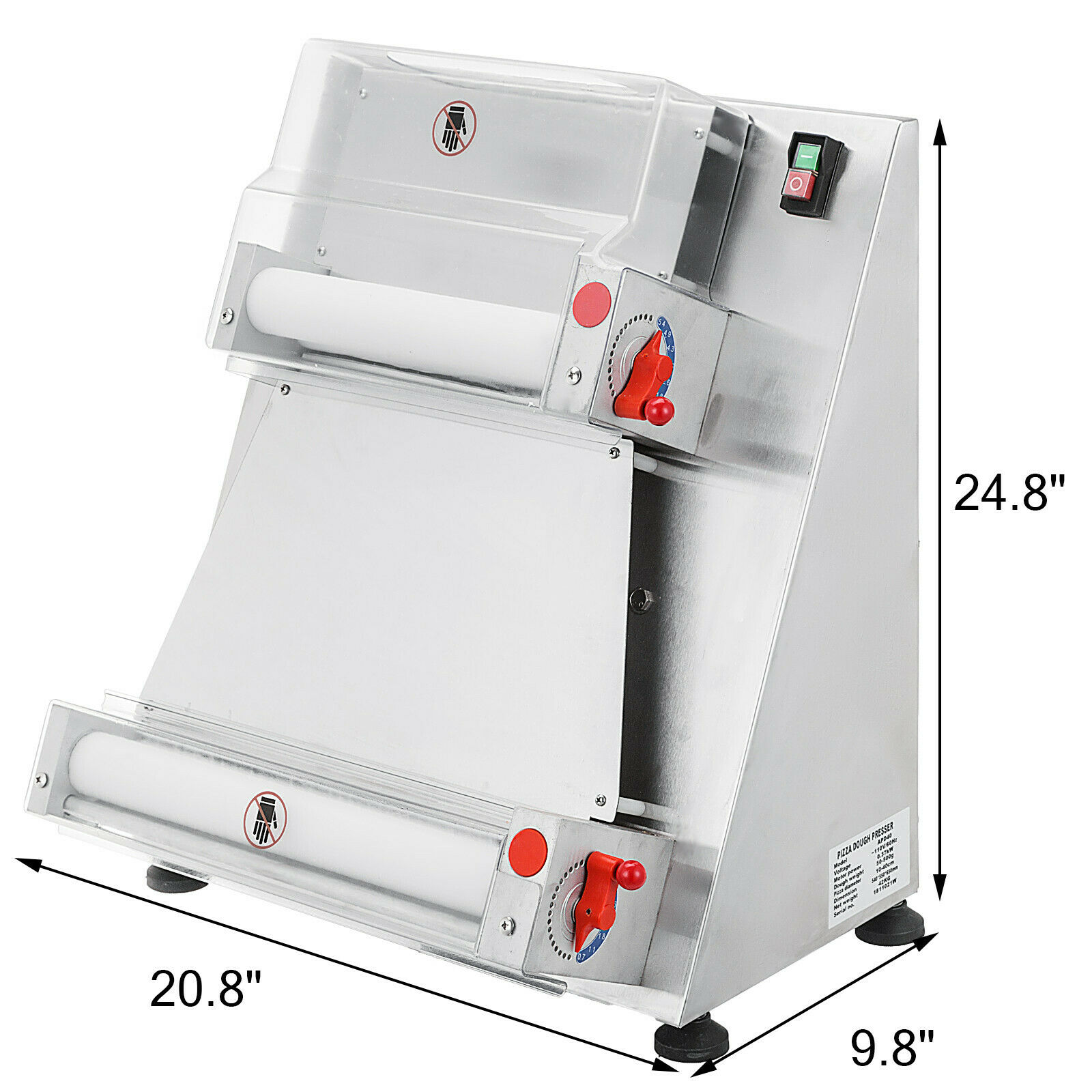 Electric Dough Sheeter Stainless Steel Pizza Dough Roller Sheeter|Crepe Maker Parts| |  - title=