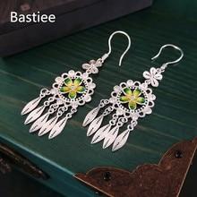 Bastiee Hmong 999 Sterling Silver Tassel Earrings For Women Cloisonne Enamel Flower Earring Miao Handmade Luxury Jewelry Dangle france dyxytwe ladybug pink flower tassel luxury jewelry women gift enamel glaze jewelry