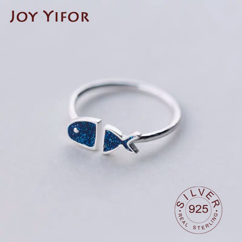 Real 925 Sterling Silver Geometric Black Enamel Blue Fish  Adjustable Ring Minimalist Fine Jewelry For Women Party Gift