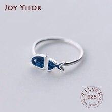 Echt 925 Sterling Silber Geometrische Schwarz Emaille blau fisch Einstellbare Ring Minimalist Feine Schmuck Für Frauen Party Geschenk
