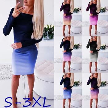 Office Lady elegancka sukienka damska nowa damska z długim rękawem elastyczny obcisły fason prosta sukienka długa tunika gradientowe sukienki OL ubrania 2020 tanie i dobre opinie LOSSKY CN (pochodzenie) Jesień Poliester spandex Płaszcza Osób w wieku 18-35 lat sfm-DL0142 plus size dress O-neck Pełna