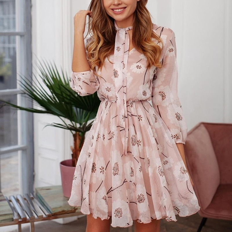 Floral Print Chiffon Bohemia Casual <font><b>Dress</b></font> for Women <font><b>Elegant</b></font> Lace up Bow Summer Mini <font><b>Dress</b></font> Female Short <font><b>Beach</b></font> <font><b>Boho</b></font> <font><b>Sexy</b></font> Vestidos image