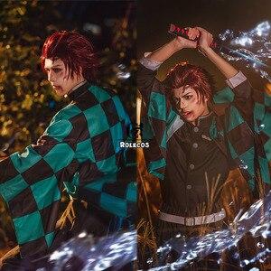 Image 3 - Rolecos Anime Demon Slayer Cosplay Kostuum Kamado Tanjirou Kimetsu Geen Yaiba Cosplay Kostuum Mannen Kimono Uniform Volledige Set