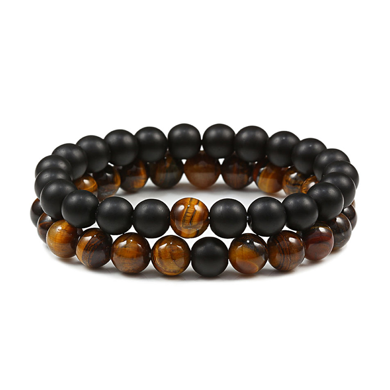 2 Pcs/set Fashion Couple Tiger Eye Stone Bracelets Bangles Classic Black White Natural Lava Stones Charm Bead Bracelet Women Men
