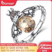 BAMOER 100% Autentico 925 Sterling Silver Arancio Ala Animale Ape Anello di Barretta per la Donna Gioielli In Argento Di Natale SCR025